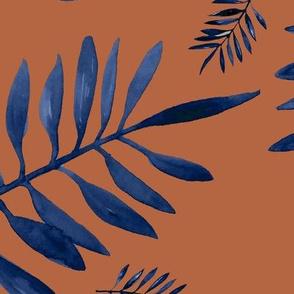 Watercolors palm leaves tropical beach minimal jungle island garden rust copper navy blue JUMBO