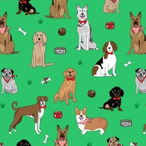 Dogs with bowls green