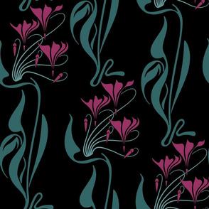 Fuschia Nouveau (variation) on black