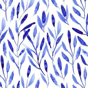 Classic blue watercolor leaves ★ painted nature for modern fresh scandi home decor, bedding, nursery