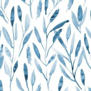 Blue watercolor leaves ★ tonal monochrome nature print for modern neutral home decor, bedding, nursery