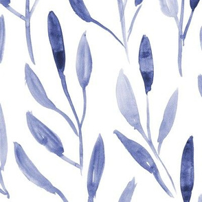 Denim blue watercolor leaves ★ large scale painted nature for modern neutral home decor, bedding, nursery