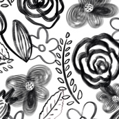 Painterly floral black on white (large scale)