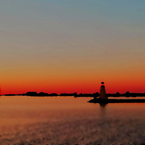 Abstract Lighthouse at Sunset