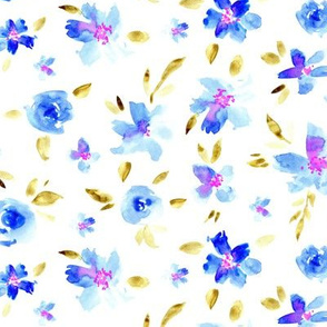 Watercolor pretty flowers in blue ★ painted florals for modern home decor, bedding, nursery
