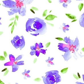 Watercolor pretty flowers in purple and pink ll painted florals for modern home decor, bedding, nursery