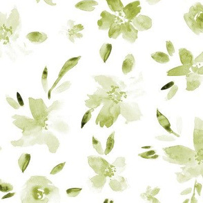 Khaki pretty flowers ★ watercolor tonal green flowers for modern home decor, bedding, nursery, baby products