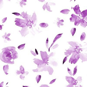 Amethyst watercolor tonal flowers ★ painted florals for modern purple home decor, bedding, nursery