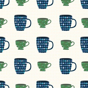 Cups and Mugs in Blue Green on White