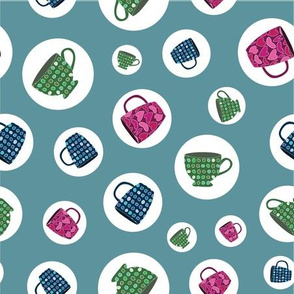 Bright Cups and Mugs in Polka Dots on Green