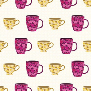 Pink and Yellow Cups and Mugs on White