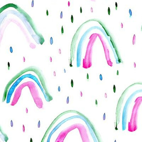 Watercolor magic rainbows and rain drops ★ painted rainbows in pink, blue, green for modern baby nursery