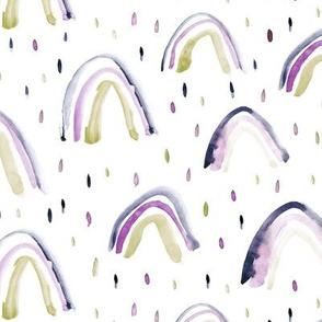 Indigo and mustard rainbows ★ watercolor neutral rainbows for modern nursery