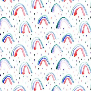Watercolor patriotic rainbows in red and blue for 4th of july ★ painted rainbows for modern nursery