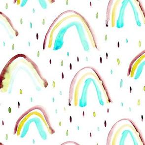 Watercolor magic rainbows and drops ★ aqua and earthy tones for modern nursery