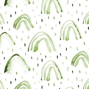 Khaki watercolor rainbows ★ painted green rainbows for natural modern neutral nursery