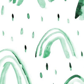 Emerald rainbows ★ large scale watercolor monochrome green rainbows for modern neutral nursery