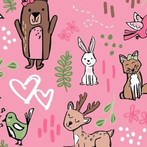 Woodland Friends -Pink