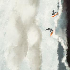 Abstract ocean surfers TeaTowel