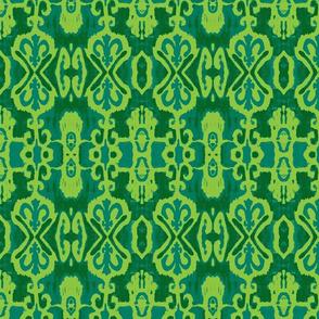 Ikat Bluegreen Forest Lime Green