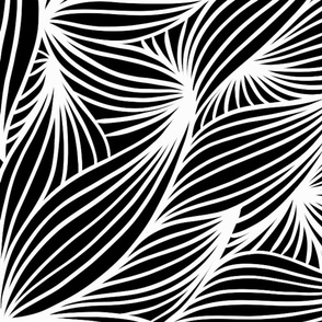White line petals on black