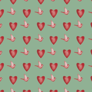 birds and hearts pattern