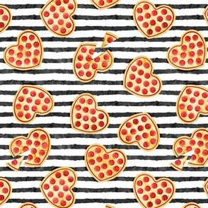 """(1.25"""" scale) heart shaped pizza - valentines day - black stripes C19BS"""