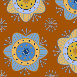Blue & Orange Flowers - Large Scale