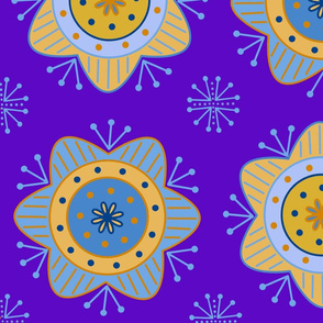 Orange & Blue Flowers - Blue Background