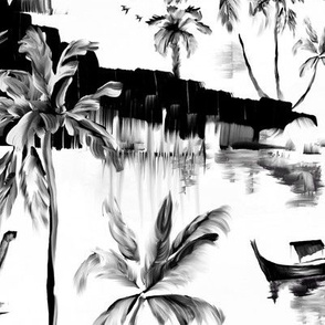 Black and White Painterly tropical sea landscape