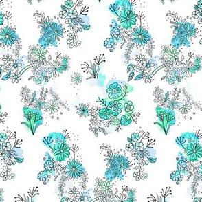 watercolour doodle flowers blue
