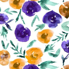 Watercolor roses love in purple and orange ★ painted flowers for modern home decor, bedding, nursery