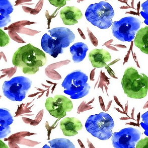 Watercolor blue and green roses love ★ painted flowers for modern home decor, bedding, nursery