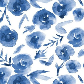 Watercolor blue roses love ★ painted tonal flowers for modern home decor, bedding, nursery