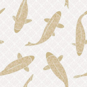 Gold Koi Fish On Beige