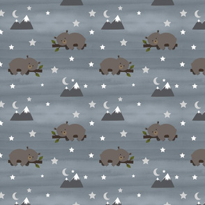 Sleepy Bear Woodland Night Stars