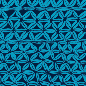 South Seas Tribal Tapa - Turquoise smaller scale