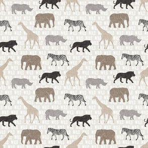 (small scale) safari animals - neutrals - wild - LAD19BS
