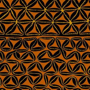 South Seas Tropical Tapa - Rust black yellow
