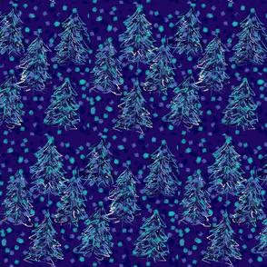 Confetti Blues Winter Forest