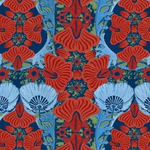 Art Nouveau Cornflower and Posey's on Olive