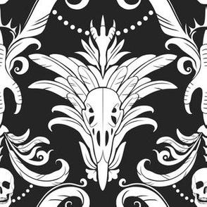 Raven Damask (Black Background)