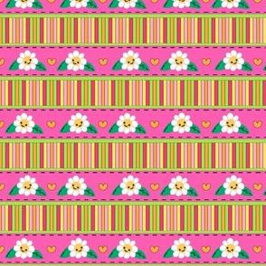 Flower Patch Micro Stripe / Fun Fun Fun - Pink- Rainbow