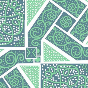 Mint and Sage Green Scrolls Whirling with Dots