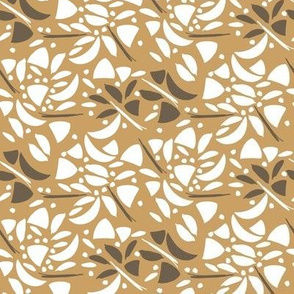 Art Deco Inlay Floral white and goldenrod - HD