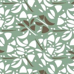 Art Deco Floral Abstract in White and Green