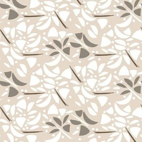 Art Deco Floral Abstract in White and Khaki