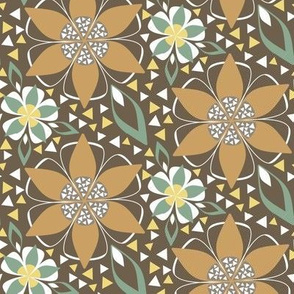 Art Deco Star Floral in Gold and Brown Earth Tone