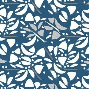 Abstract Floral White and Blue