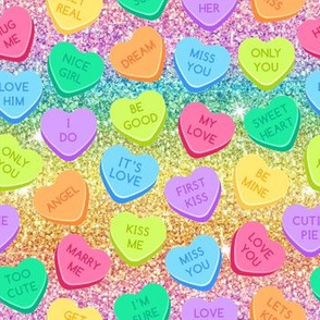 Candy hearts ombre glitter